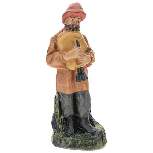Statua zampognaro gesso dipinto a mano per presepi di Arte Barsanti 15 cm 1