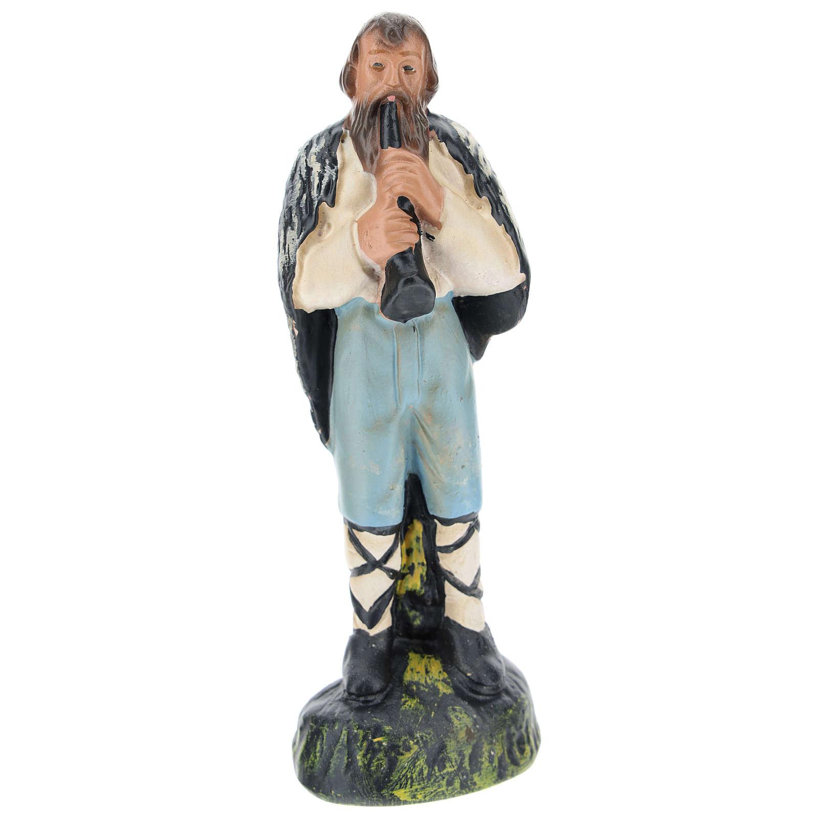 Statua pastore con flauto gesso per presepi di 15 cm Arte Barsanti 4