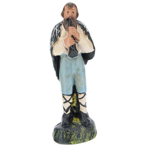 Statua pastore con flauto gesso per presepi di 15 cm Arte Barsanti 1