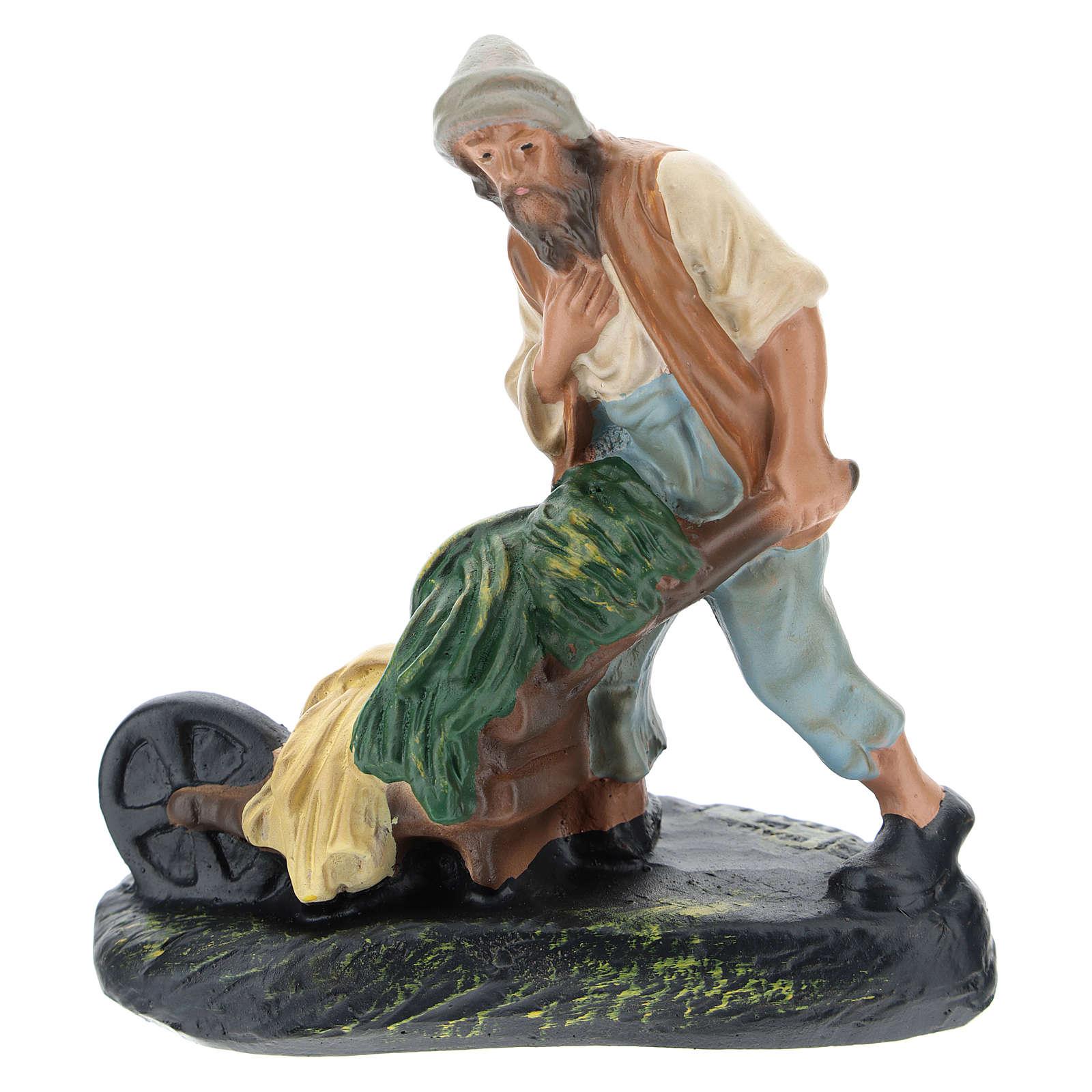 Statua contadino con carretto gesso per presepi di 15 cm Arte Barsanti 4
