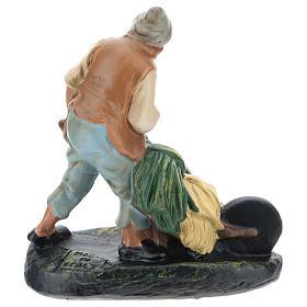 Statua contadino con carretto gesso per presepi di 15 cm Arte Barsanti s2