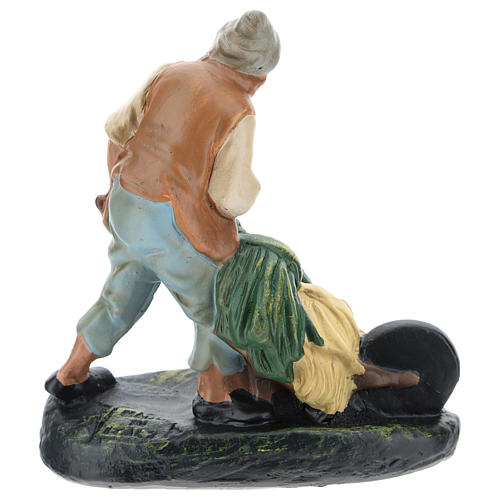 Statua contadino con carretto gesso per presepi di 15 cm Arte Barsanti 2