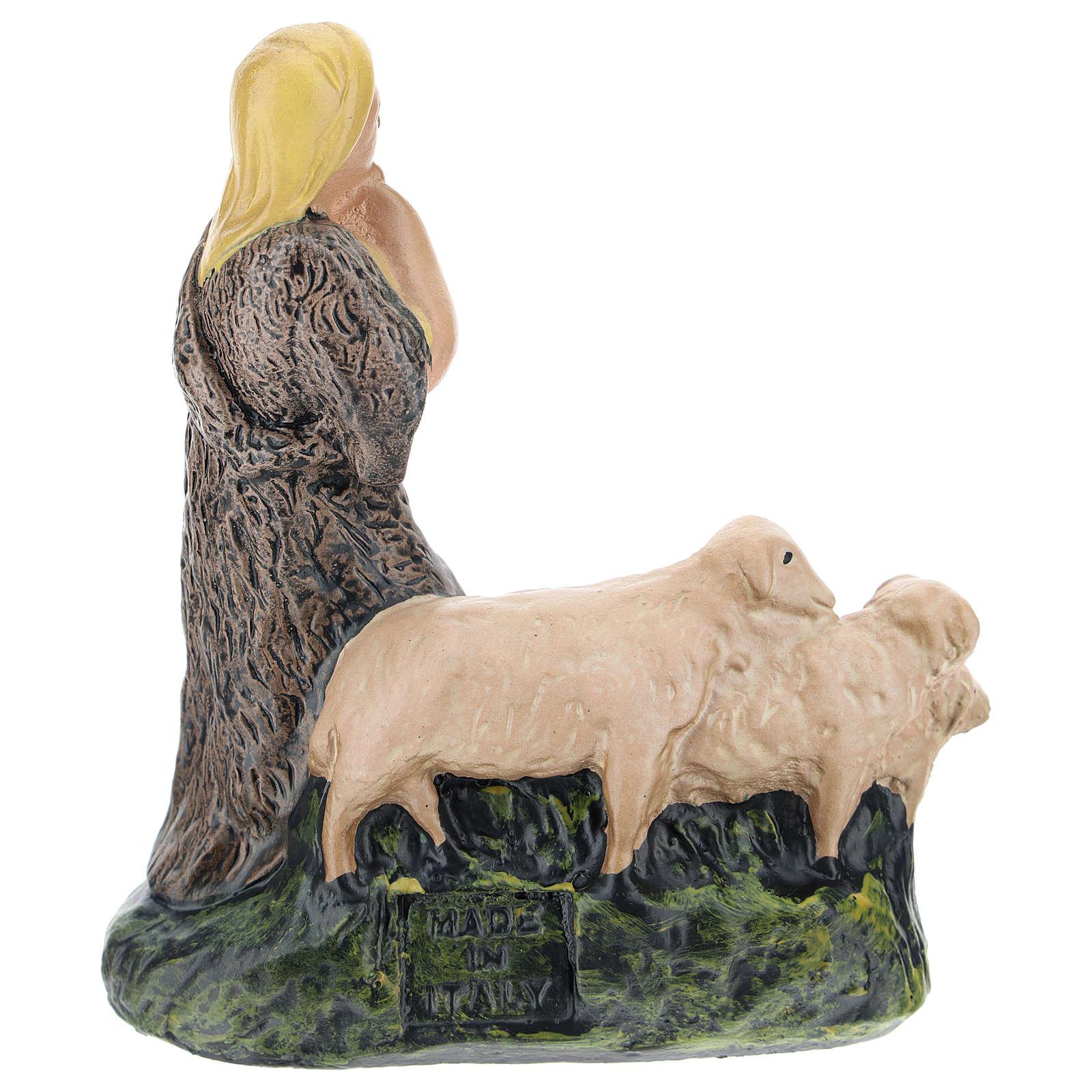 Statua pastore con gregge gesso presepi 15 cm Arte Barsanti 4