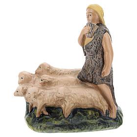 Statua pastore con gregge gesso presepi 15 cm Arte Barsanti s1