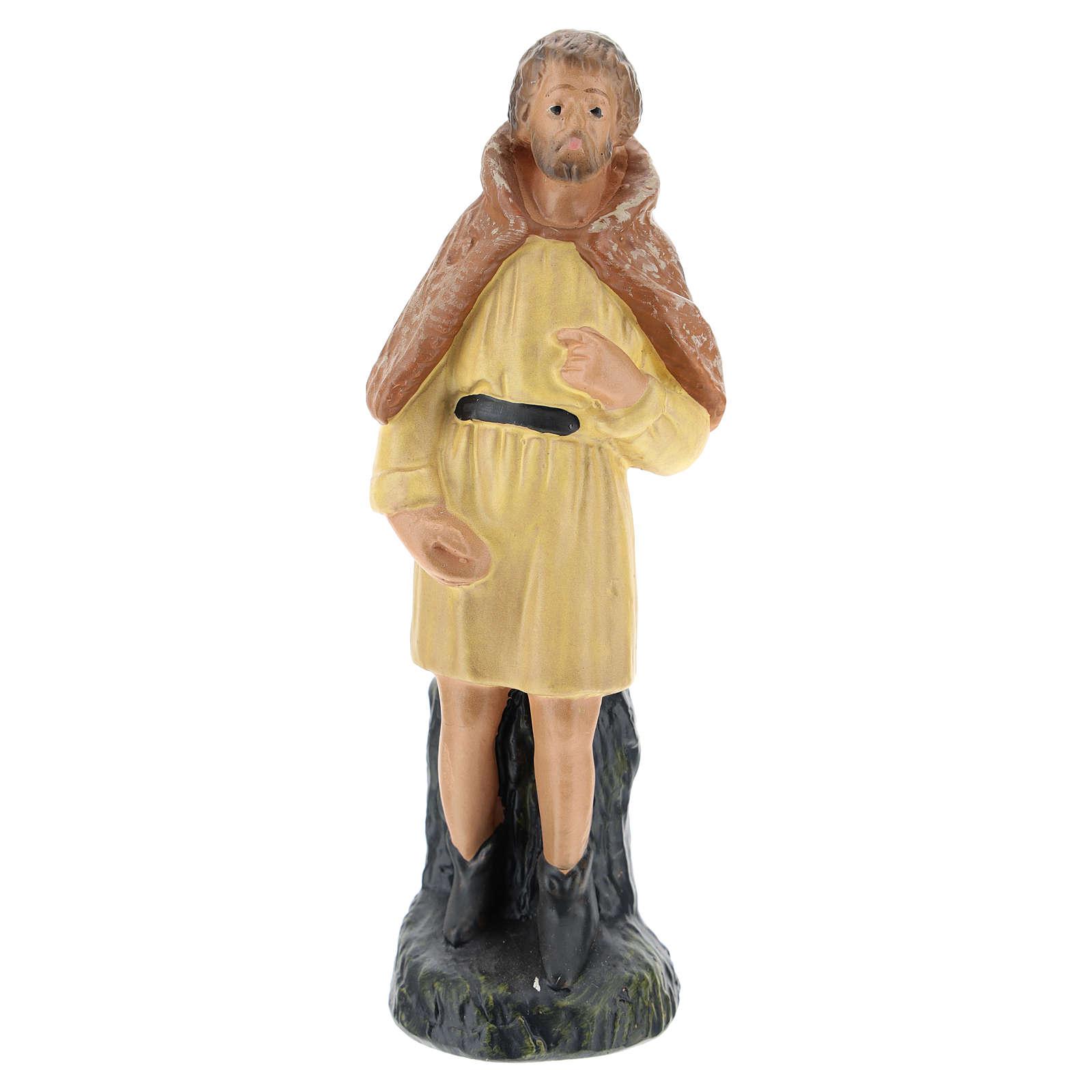 Statua pastore veste gialla in gesso presepe Arte Barsanti di 15 cm 4