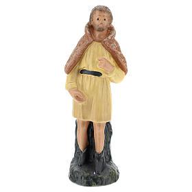 Statua pastore veste gialla in gesso presepe Arte Barsanti di 15 cm s1