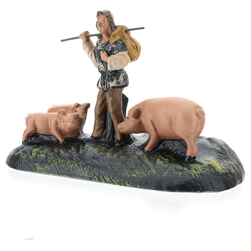 Estatua pastor con cerdos de yeso para belenes Arte Barsanti de 15 cm 2