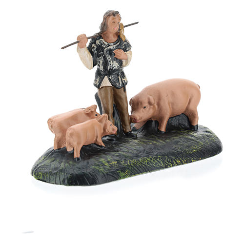 Estatua pastor con cerdos de yeso para belenes Arte Barsanti de 15 cm 3