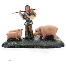 Statua pastore con maiali in gesso per presepi Arte Barsanti di 15 cm s1