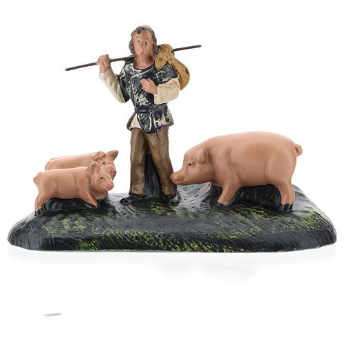 Statua pastore con maiali in gesso per presepi Arte Barsanti di 15 cm 1