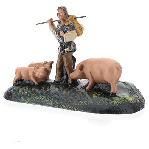 Statua pastore con maiali in gesso per presepi Arte Barsanti di 15 cm 2
