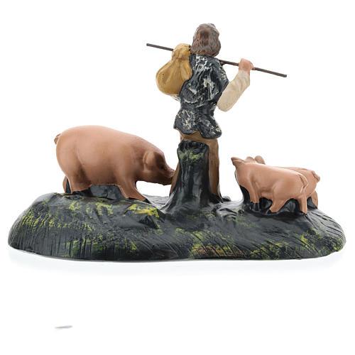 Statua pastore con maiali in gesso per presepi Arte Barsanti di 15 cm 4
