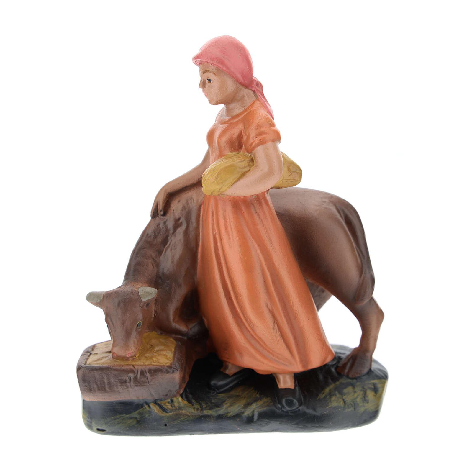 Shepherdess with ox for Arte Barsanti Nativity Scene 15 cm 4