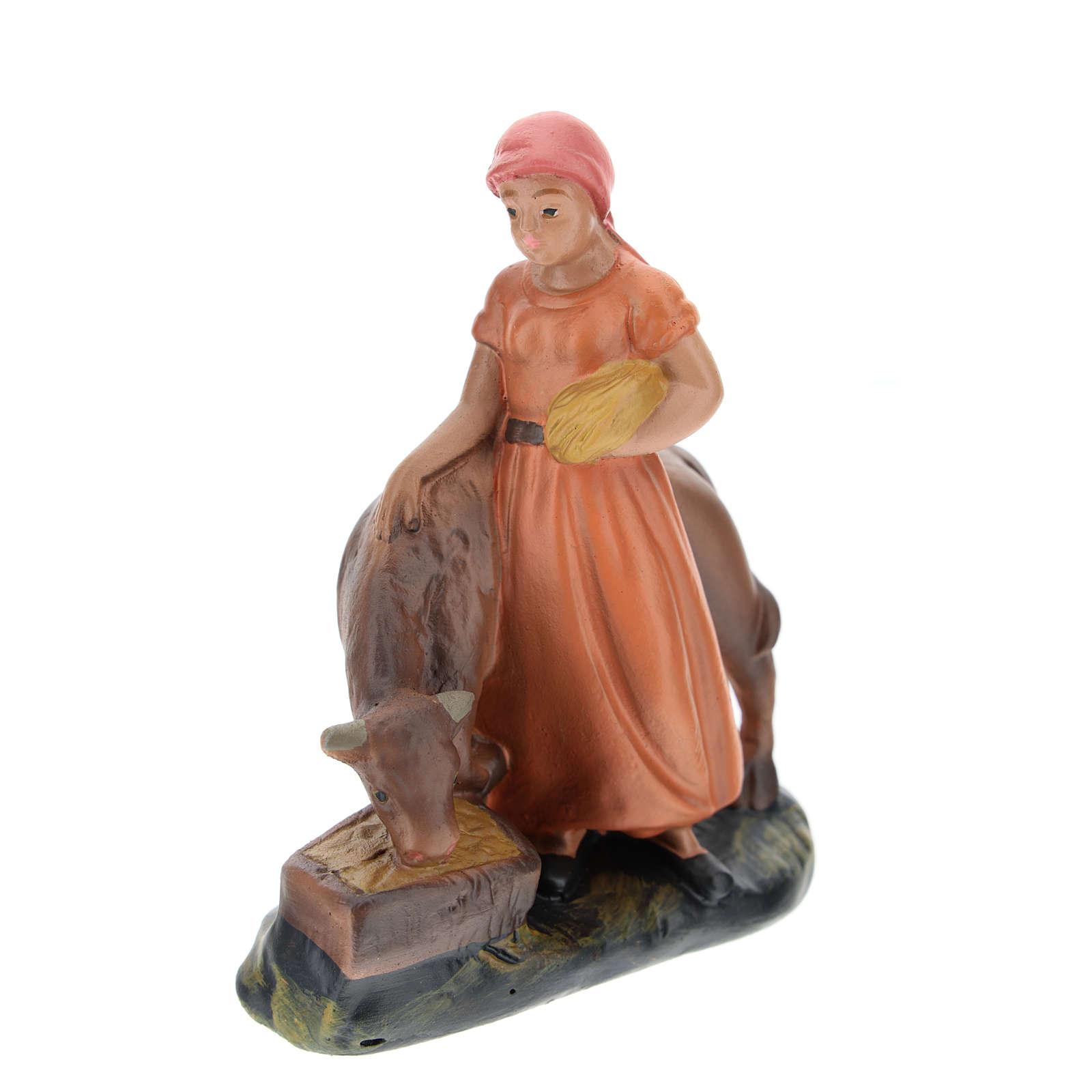 Statua pastorella con bue gesso per presepi di 15 cm Arte Barsanti 4