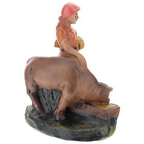 Statua pastorella con bue gesso per presepi di 15 cm Arte Barsanti s3
