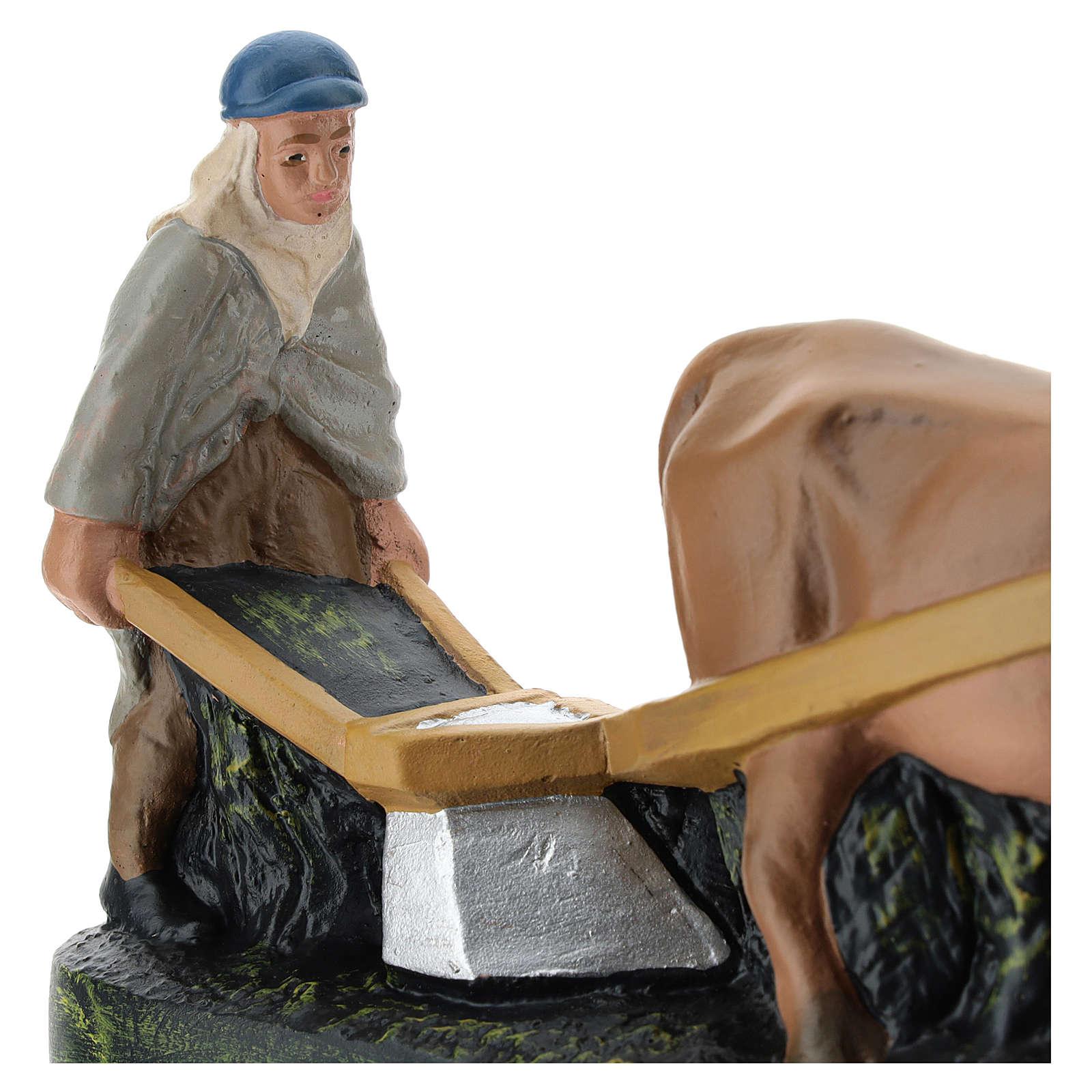 Statua contadino aratro e bue per presepi Arte Barsanti di 15 cm 4