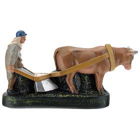 Statua contadino aratro e bue per presepi Arte Barsanti di 15 cm s4
