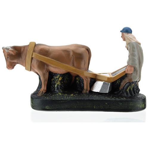 Statua contadino aratro e bue per presepi Arte Barsanti di 15 cm 1