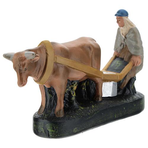 Statua contadino aratro e bue per presepi Arte Barsanti di 15 cm 3