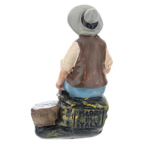 Estatua pescador sentado yeso para belenes de Arte Barsanti 15 cm 2