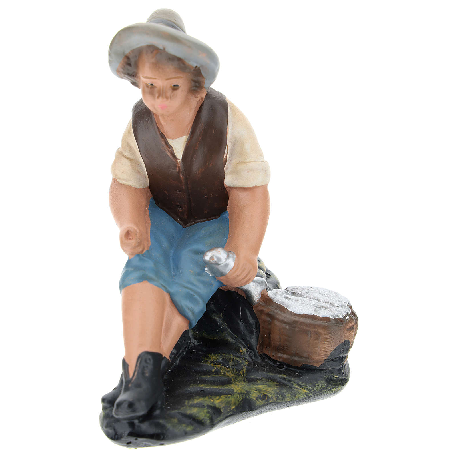 Statua pescatore seduto gesso per presepi di Arte Barsanti 15 cm 4