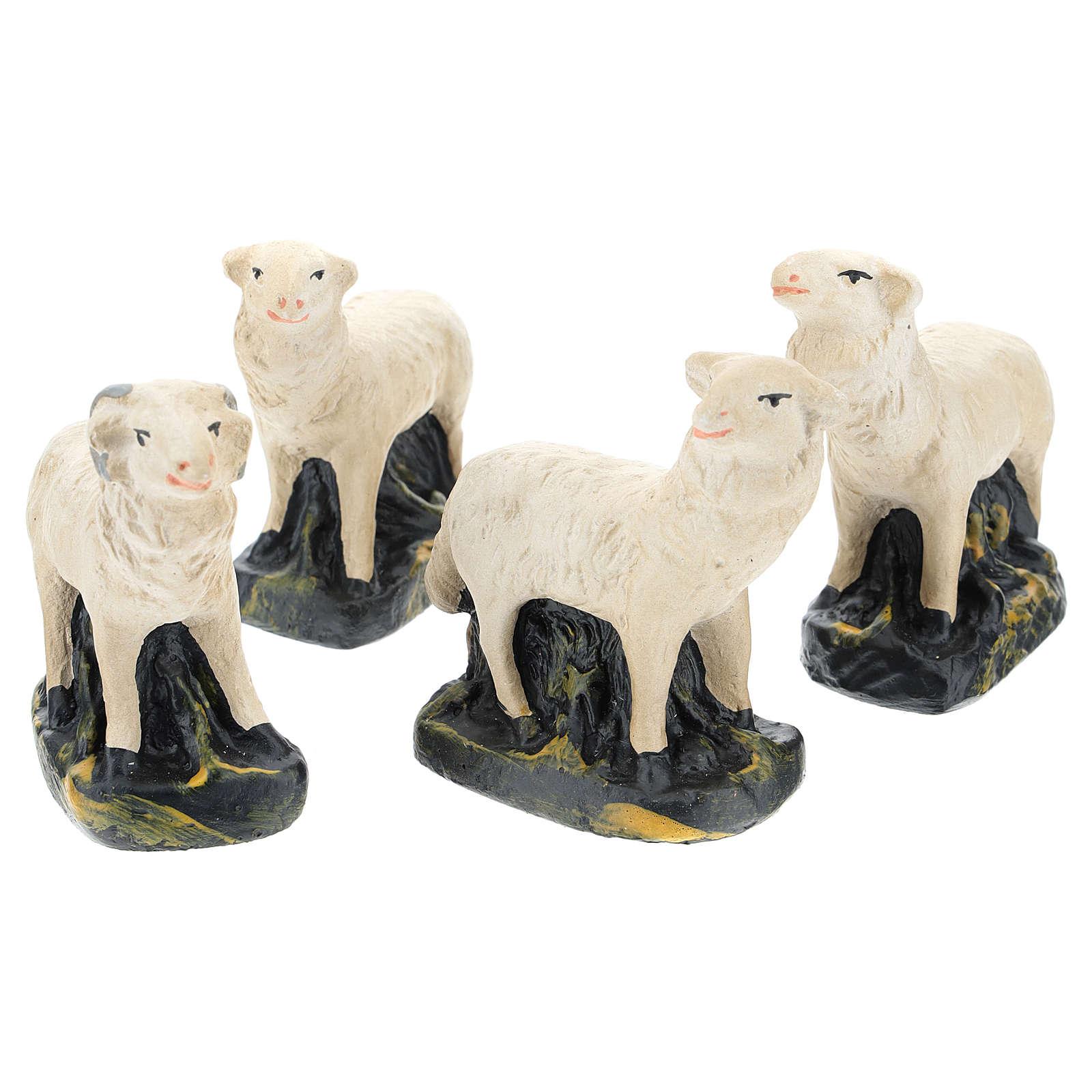 Pecorelle Arte Barsanti set 4 pezzi gesso per presepi di 15 cm 4