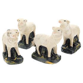 Pecorelle Arte Barsanti set 4 pezzi gesso per presepi di 15 cm s1