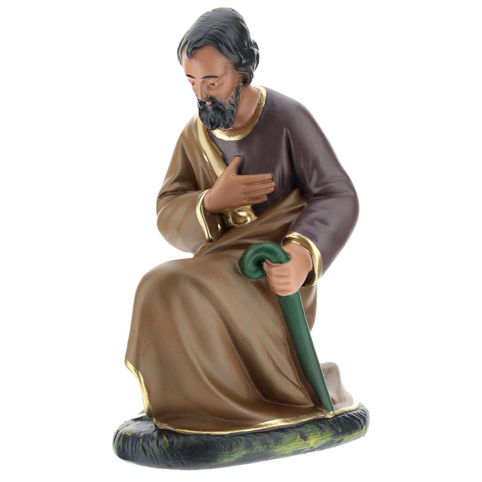 Figur Heiliger Josef aus Gips für Krippen handbemalt von Arte Barsanti, 20 cm 4