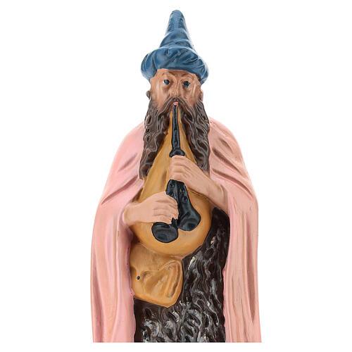Estatua gaitero yeso pintado a mano para belenes de 20 cm Barsanti 2
