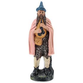 Statua zampognaro gesso dipinto a mano per presepi di 20 cm Barsanti s1