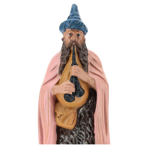Statua zampognaro gesso dipinto a mano per presepi di 20 cm Barsanti 2