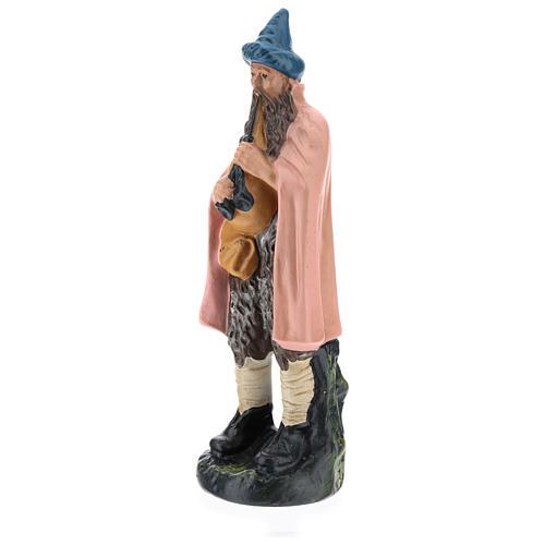 Statua zampognaro gesso dipinto a mano per presepi di 20 cm Barsanti 3