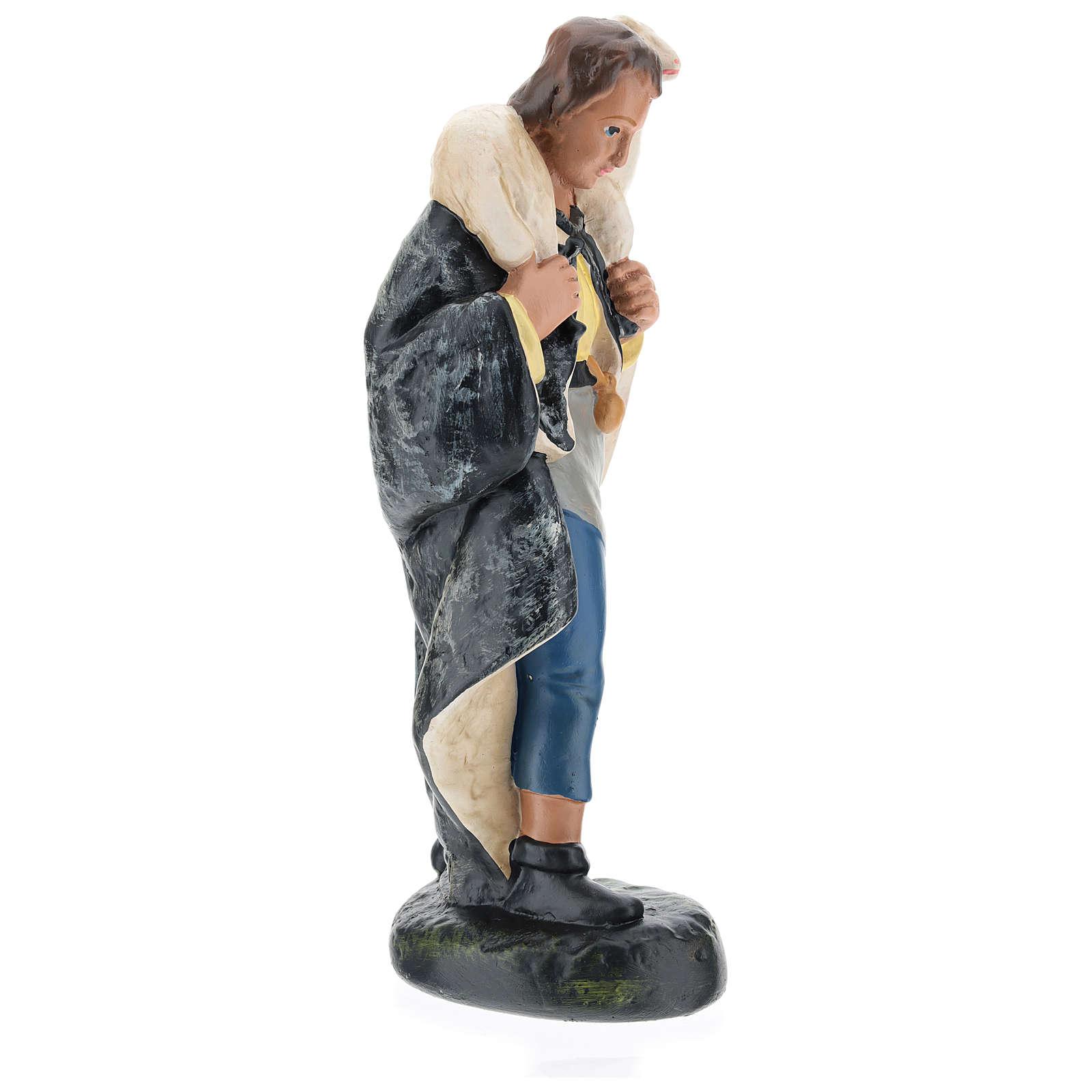 Pastore con pecorella in spalla gesso per presepi 20 cm Arte Barsanti 4