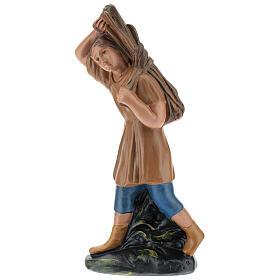 Estatua campesino con leña yeso 20 cm Arte Barsanti s1