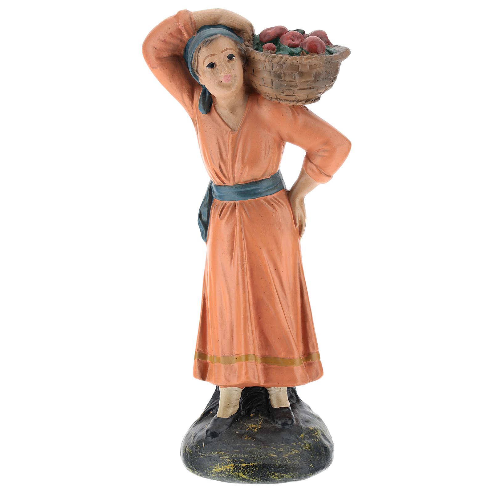 Contadina con cesto di mele gesso colorato 20 cm Arte Barsanti 4