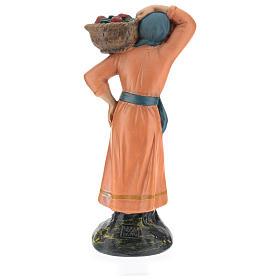 Contadina con cesto di mele gesso colorato 20 cm Arte Barsanti s5