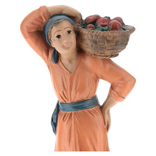 Contadina con cesto di mele gesso colorato 20 cm Arte Barsanti 2