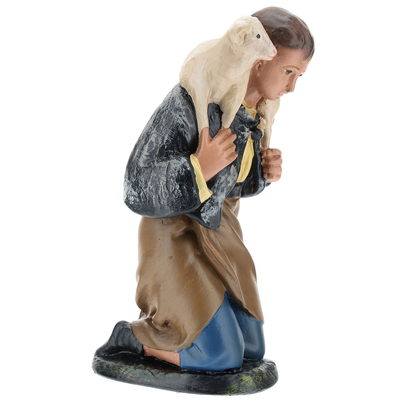 Kneeling shepherd with sheep for Arte Barsanti Nativity Scene 20 cm 4