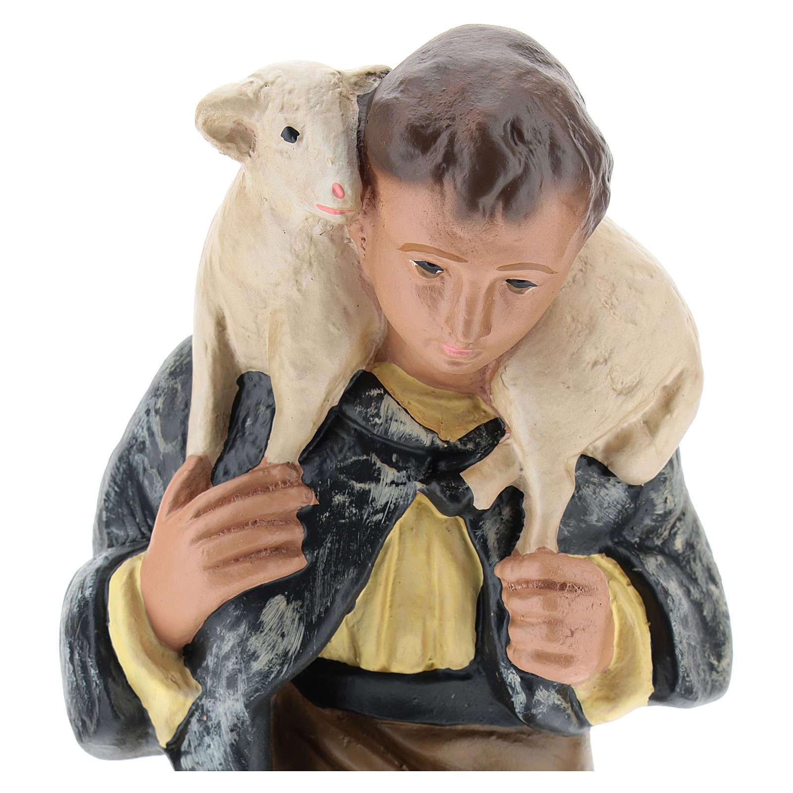 Statua pastore inginocchiato con pecora presepe 20 cm Arte Barsanti 4