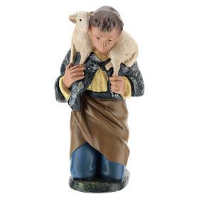 Statua pastore inginocchiato con pecora presepe 20 cm Arte Barsanti s1
