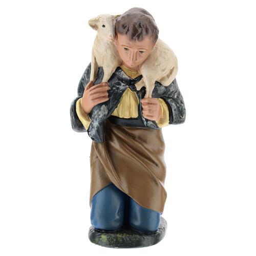 Statua pastore inginocchiato con pecora presepe 20 cm Arte Barsanti 1