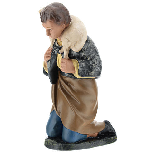 Statua pastore inginocchiato con pecora presepe 20 cm Arte Barsanti 3