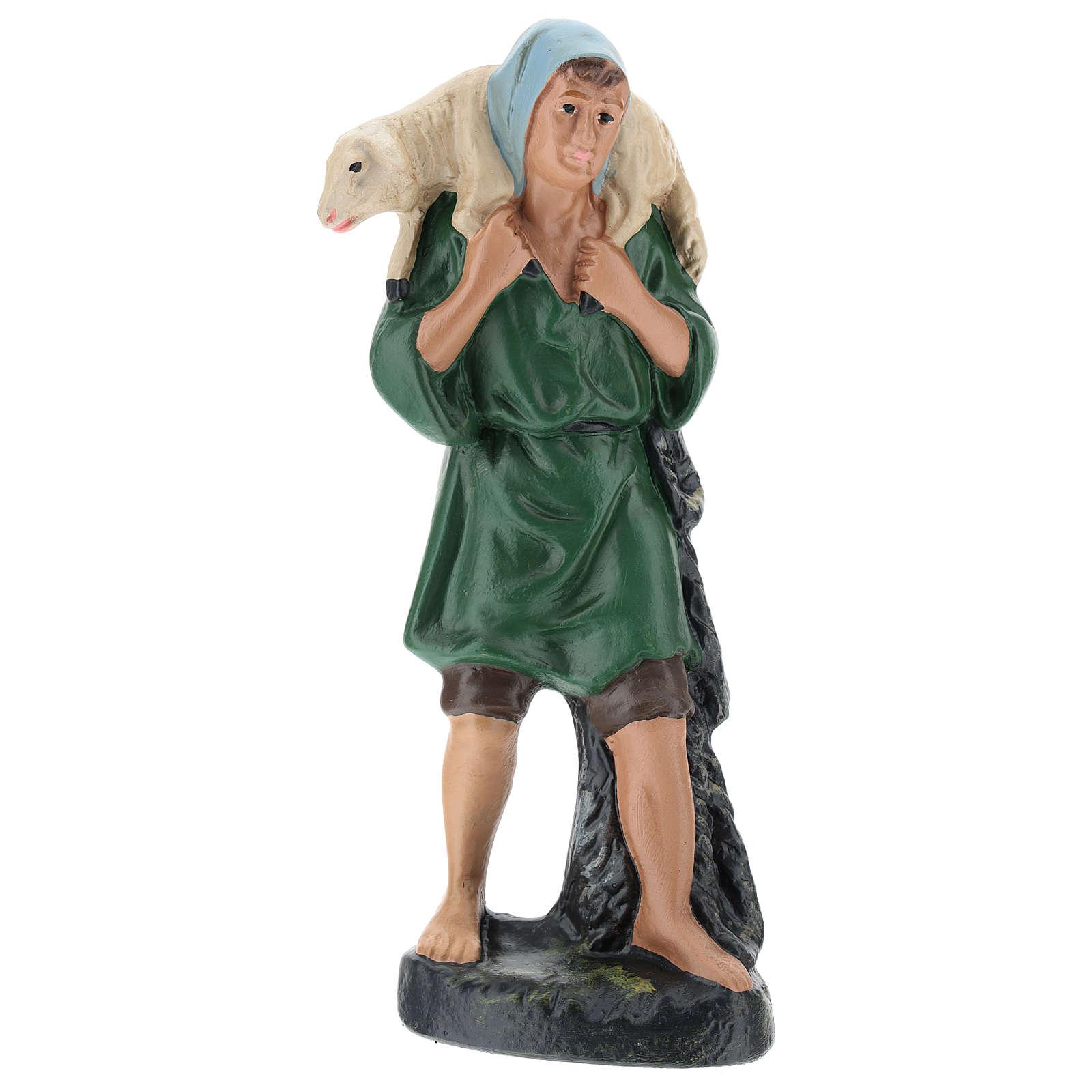 Pastor con velo y oveja yeso coloreado Barsanti para belén 20 cm 4