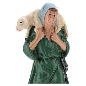 Pastore con velo e pecorella gesso colorato Barsanti per presepe 20 cm s2