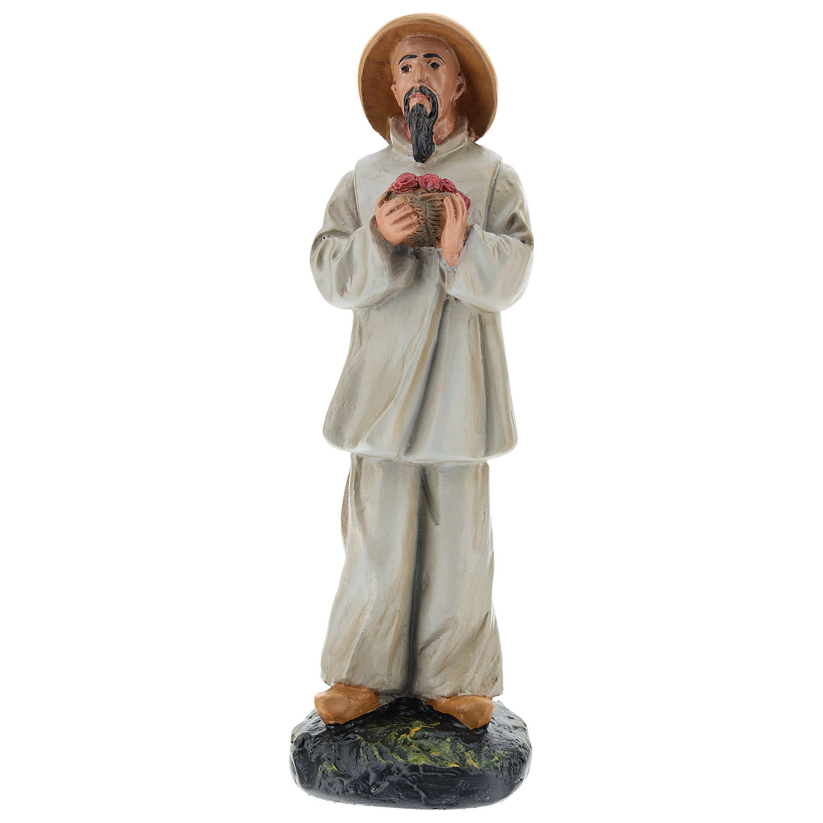 Statua pastore cinese con fiori gesso colorato 20 cm Arte Barsanti 4