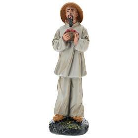 Statua pastore cinese con fiori gesso colorato 20 cm Arte Barsanti s1