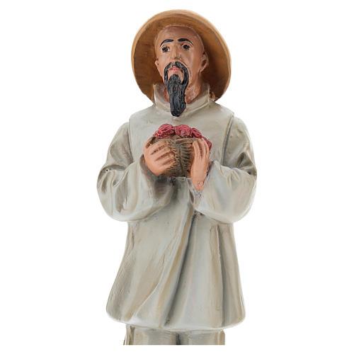 Statua pastore cinese con fiori gesso colorato 20 cm Arte Barsanti 2