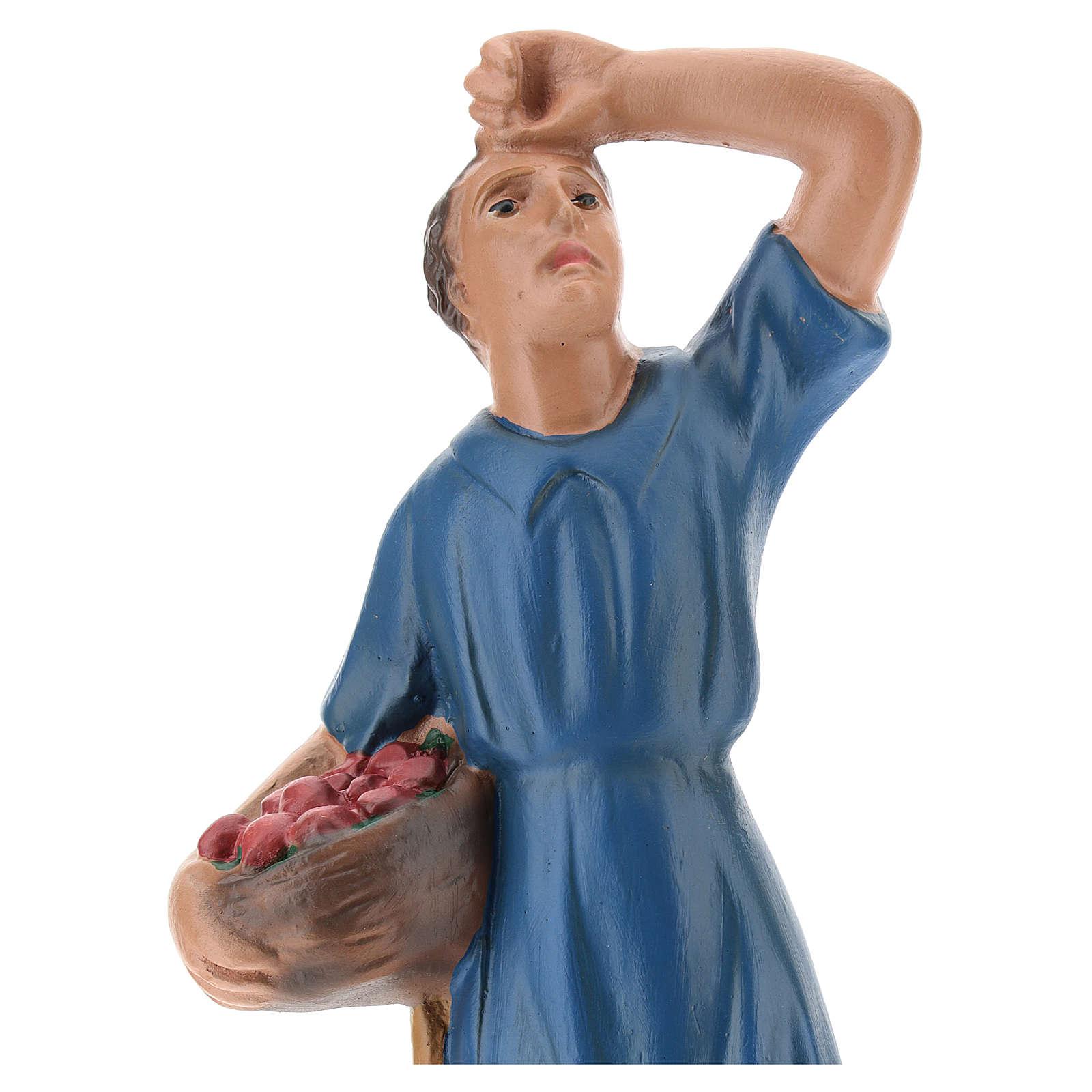 Statua pastore che guarda la stelle con cesto gesso 20 cm 4