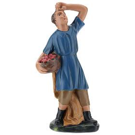 Statua pastore che guarda la stelle con cesto gesso 20 cm s1