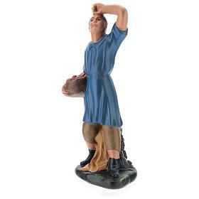 Statua pastore che guarda la stelle con cesto gesso 20 cm s3